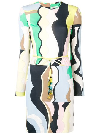 Emilio Pucci Vallauris Print Belted Dress For Women | Farfetch.com