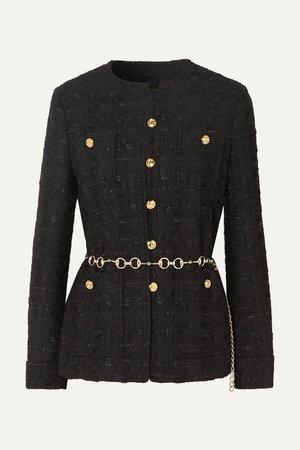 Black Belted button-embellished tweed jacket | Gucci | NET-A-PORTER