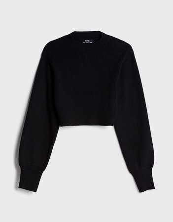 High neck cropped sweater - Sweaters and Cardigans - Woman | Bershka