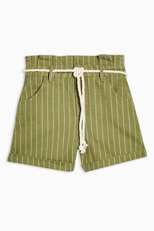 High Waist Stripe Rope Denim Shorts | Topshop green