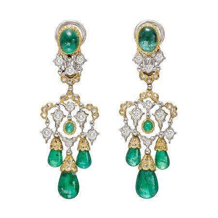 Buccellati, emerald drop chandelier earrings