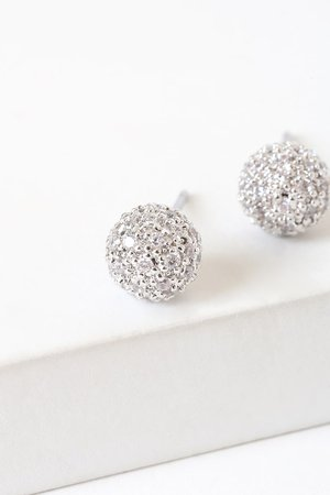 Silver Rhinestone Earrings - Rhinestone Ball Earrings - Studs