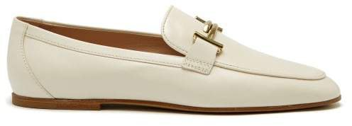 Double T Bar Leather Loafers - Womens - White