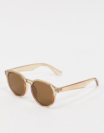 ASOS DESIGN hexagon round sunglasses in crystal light yellow | ASOS
