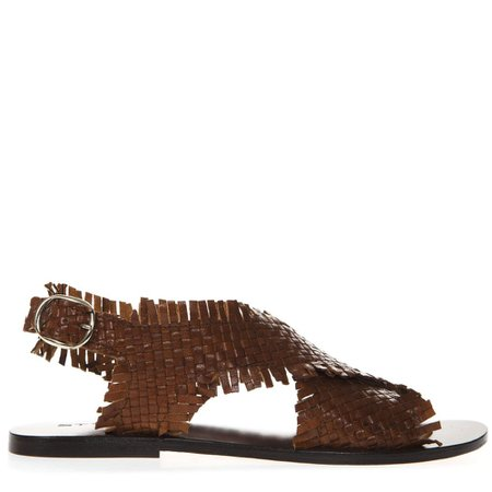 Strategia Brown Braided Leather Sandal