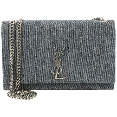 Saint Laurent Classic Monogram Crossbody Bag Denim Medium For Sale at 1stdibs