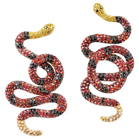 """""""Coral Snake"""" Earrings in 19.2 Karat Yellow Gold, Diamonds and Sapphires For Sale at 1stDibs"""