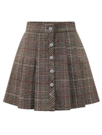 (17) Pinterest - Khaki Plaid Button Front Mini Skirt | WithChic | Outfits I love