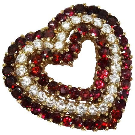 Diamond Garnet Heart 14K Gold Pendant Brooch Fine Gorgeous Vintage : Bliss | Ruby Lane