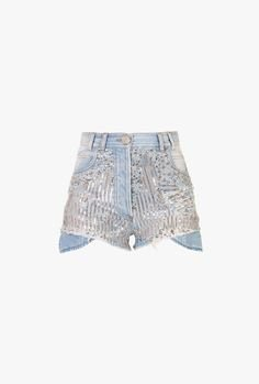 glitter sequin jean shorts