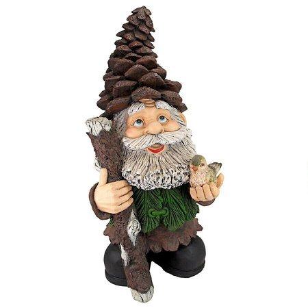 Pinecone Percy avec bâton de marche et oiseau en bois peint à la main Statue de gnome des bois | eBay