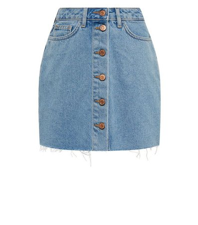 Girls Pale Blue Button Up Denim Skirt | New Look