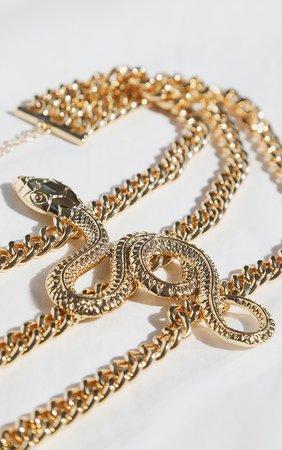 Gold Multi Chain Snake Choker | PrettyLittleThing USA