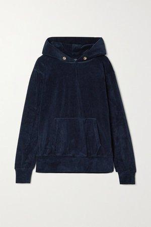 Cotton-blend Velour Hoodie - Midnight blue
