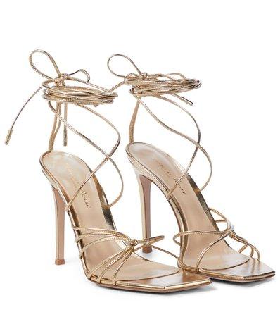 Gianvito Rossi - Metallic leather sandals   Mytheresa