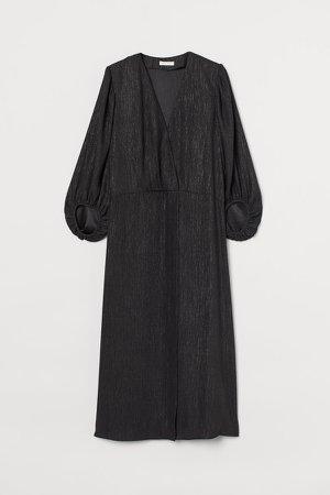 Balloon-sleeved Wrap Dress - Black