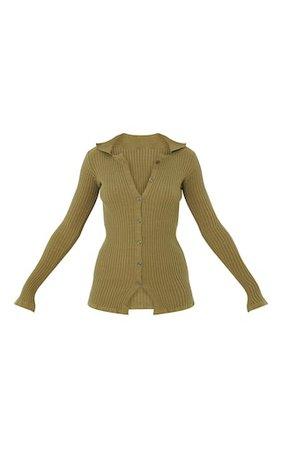 Khaki Ribbed Knitted Long Sleeve Cardigan | PrettyLittleThing