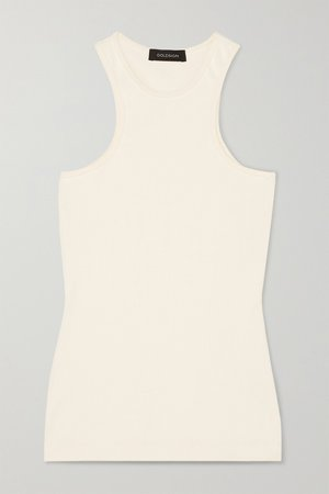 White Ribbed stretch-jersey tank | GOLDSIGN | NET-A-PORTER
