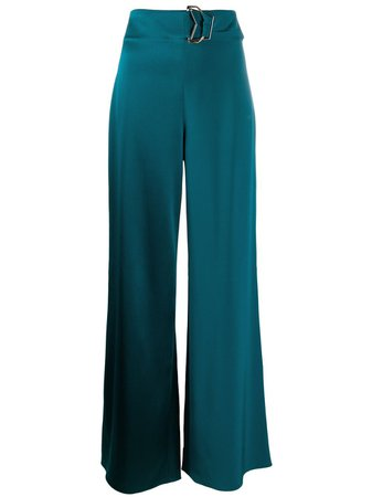 Shop blue Cushnie high rise wide leg trousers with Express Delivery - Farfetch