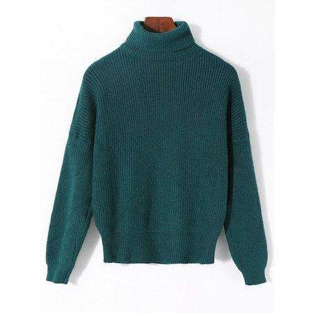 Malachite Green ONE SIZE Plain Ribbed Turtleneck Sweater