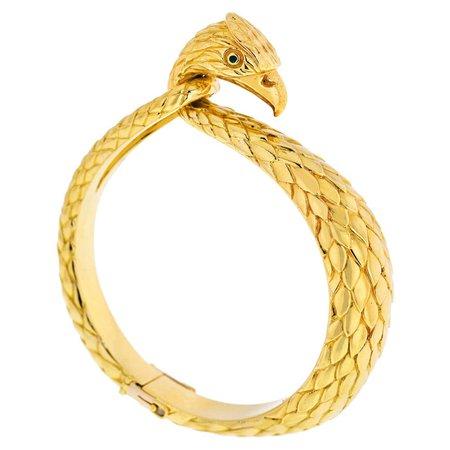 Cartier Vintage 18k Yellow Gold Falcon Eagle Bangle Bracelet