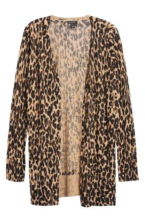 Leopard Print Linen Blend Cardigan   Nordstrom
