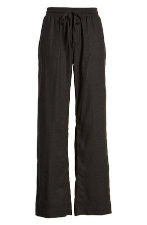 Caslon® Drawstring Linen Blend Pants | Nordstrom