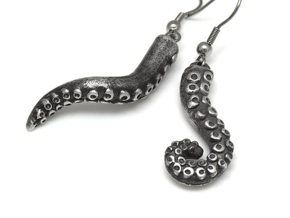 Octopus Tentacle Dangle Earrings in Pewter with Stainless   Etsy