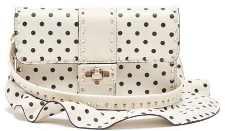 Very V Rockstud Leather Cross Body Bag - Womens - White Black