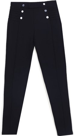 Zara Black Leggings with Silver Buttons