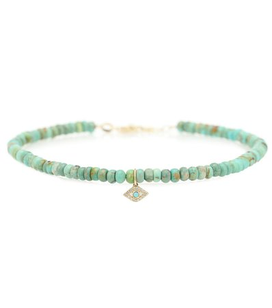 Sydney Evan - Exclusive to Mytheresa – Evil Eye 14kt gold, turquoise and diamond bracelet | Mytheresa