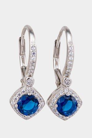 Kyra Pavé Sapphire Drop Earrings | francesca's