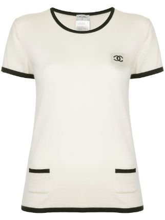 Chanel Pre-Owned Logo Contrast short-sleeve Top - Farfetch