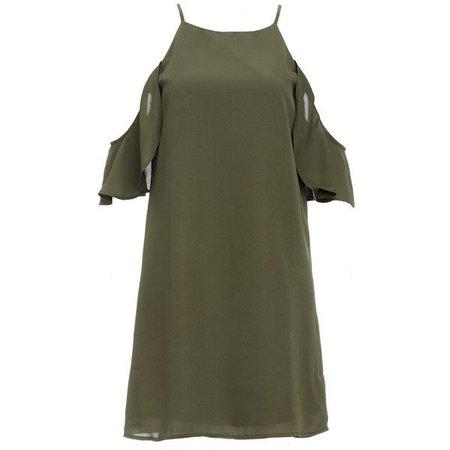 Olive Green No Sleeve T-Shirt Dress