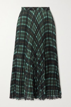 Pleated Checked Crepe Midi Skirt - Green