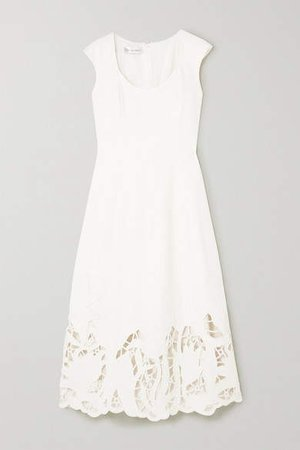 Embroidered Cutout Wool-blend Cady Midi Dress - Ivory