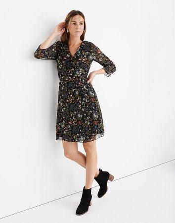 Sheer-Sleeve Ruffled Wrap Dress in Finch Floral