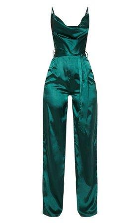 Rose Cowl Neck Satin Tie Waist Jumpsuit | PrettyLittleThing USA
