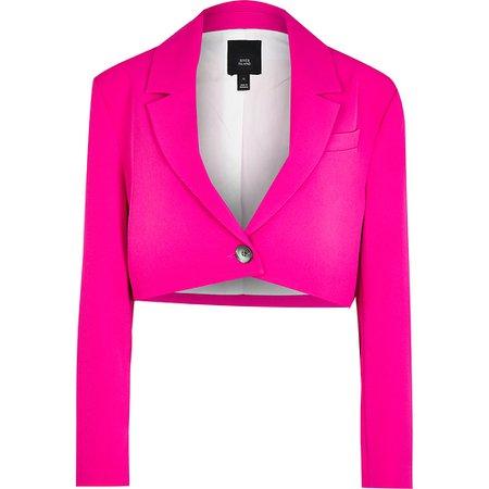 Pink cropped blazer | River Island