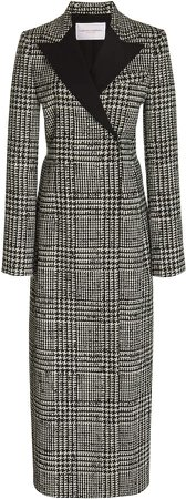 Collared Prince Of Wales Checked Silk-Wool Coat