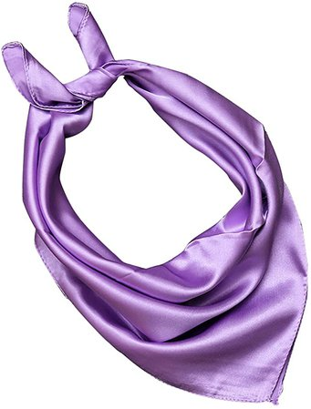 OULII Women Neckerchief Silk Square Head Neck Scarf (Light Purple) at Amazon Women's Clothing store