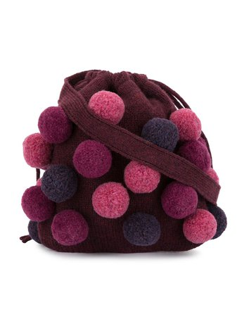 Shop purple Familiar knitted pom pom bag with Express Delivery - Farfetch