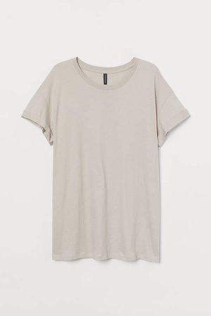 H&M+ Cotton Jersey T-shirt - Brown