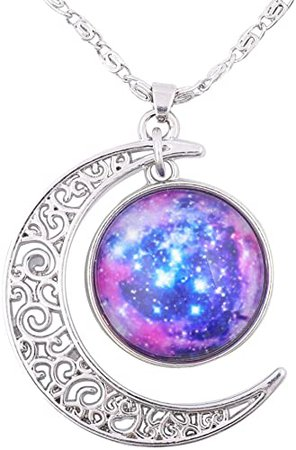 Amazon.com: FANSING Galaxy Pendant Necklaces for Women Cosmic Crescent Moon Nebula Necklace Universe Space Jewelry: Jewelry