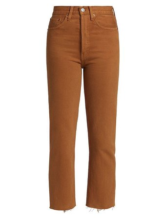 RE/DONE Re/Done Women's 70s Ultra High-Rise Stove Pipe Jeans - Terracotta