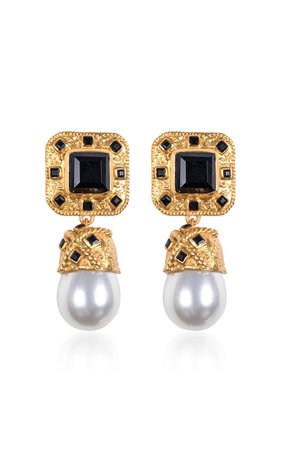 Poseidon Gold-Plated, Onyx And Pearl Earrings by VALÉRE | Moda Operandi
