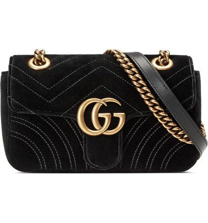 Gucci Small GG Marmont 2.0 Matelassé Velvet Shoulder Bag | Nordstrom