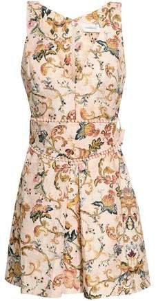 Pompom-embellished Linen Mini Dress