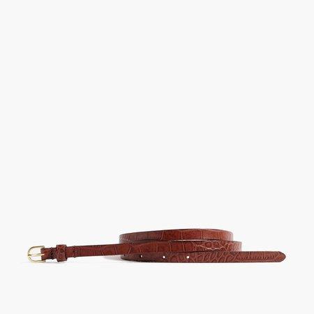 Crocodile-embossed skinny belt