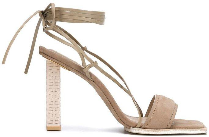 Suede Square-Toe Sandals